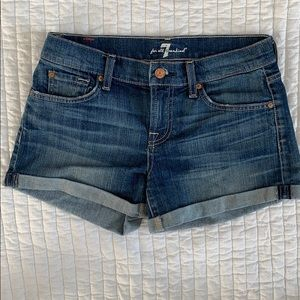7 for All Mankind Rolled Cuff Denim Shorts